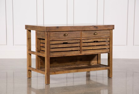 Reclaimed Pine/Galvanized Iron 4-Drawer Kitchen Island
