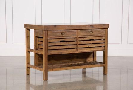 Reclaimed Pine/Galvanized Iron 4-Drawer Kitchen Island