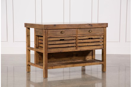 Reclaimed Pine/Galvanized Iron 4-Drawer Kitchen Island - Main