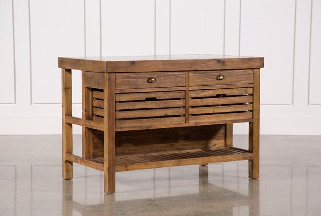 Reclaimed Pine/Galvanized Iron 4-Drawer Kitchen Island - 360