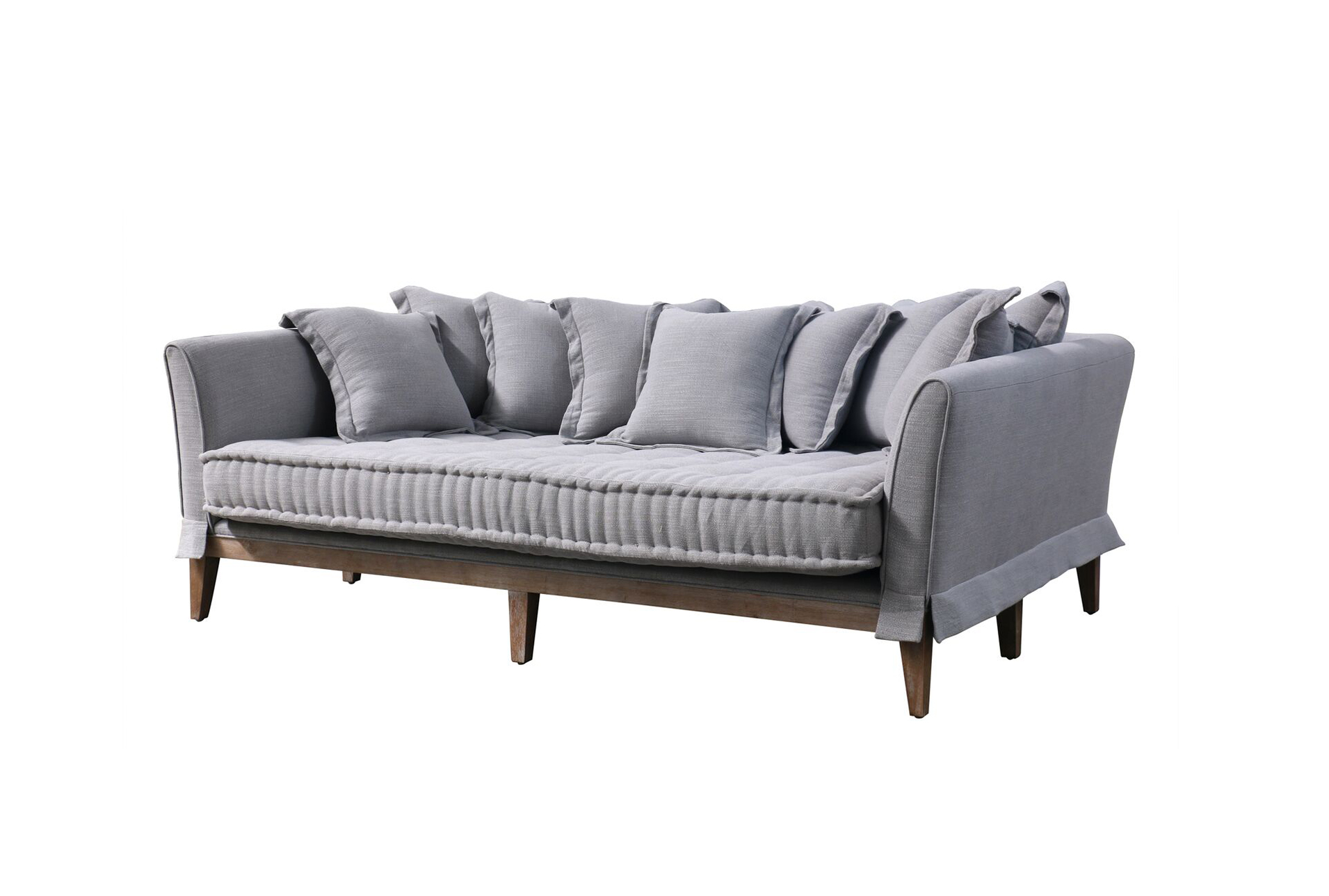 Lovely Pewter Linen Daybed Sofa   360 Elements