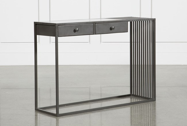 Gunmetal Marble & Iron Console Table - 360