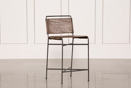 Distressed Brown & Waxed Black Counterstool