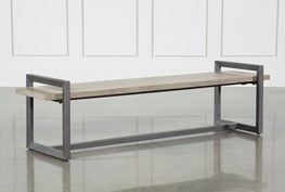 Salvage Grey & Gunmetal 76 Inch Large Bench