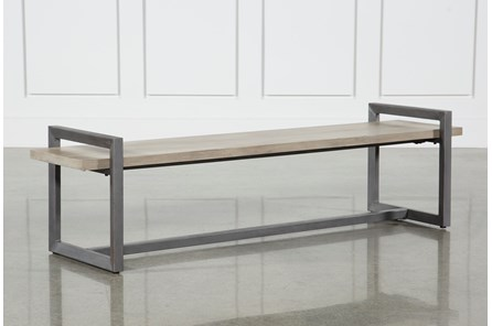 Salvage Grey & Gunmetal 76 Inch Large Bench - Main