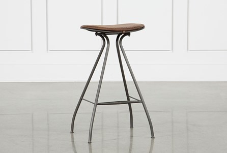 Antique Tan & Gunmetal Bar Stool