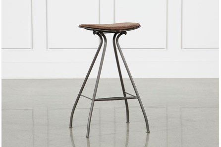 Antique Tan & Gunmetal Bar Stool - Main