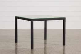 Ina Matte Black 40 Inch Square Dining Table W/Frosted Glass