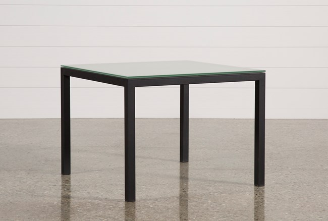 Ina Matte Black 40 Inch Square Dining Table W/Frosted Glass - 360