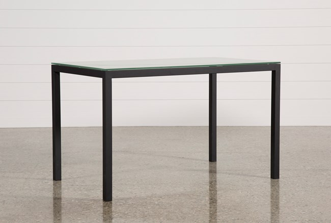 Ina Matte Black 60 Inch Counter Table W/Frosted Glass - 360