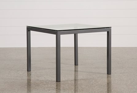 Ina Pewter 40 Inch Square Dining Table W/Clear Glass