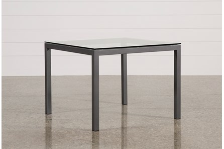Ina Pewter 40 Inch Square Dining Table W/Clear Glass - Main
