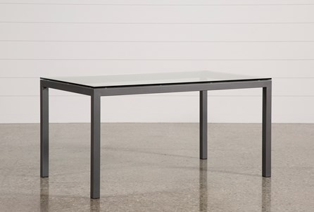 Ina Pewter 60 Inch Dining Table W/Clear Glass