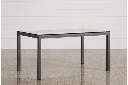 Ina Pewter 60 Inch Dining Table W/Clear Glass - Main