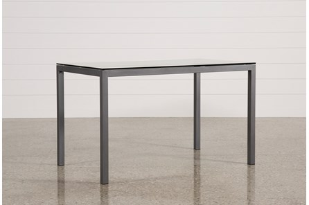 Ina Pewter 60 Inch Counter Table W/Clear Glass - Main
