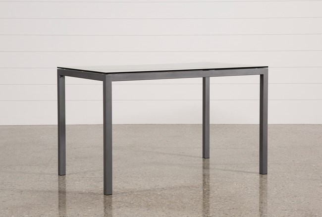 Ina Pewter 60 Inch Counter Table W/Clear Glass - 360