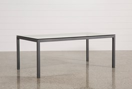 Ina Pewter 78 Inch Dining Table W/Clear Glass