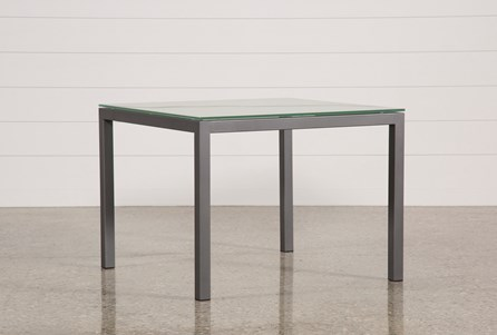 Ina Pewter 40 Inch Square Dining Table W/Frosted Glass