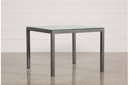 Ina Pewter 40 Inch Square Dining Table W/Frosted Glass - Main
