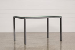 Ina Pewter 60 Inch Counter Table W/Frosted Glass