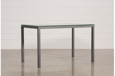 Ina Pewter 60 Inch Counter Table W/Frosted Glass - Main