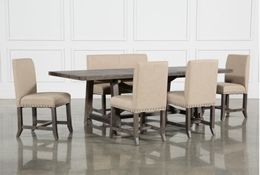 Jaxon Grey 6 Piece Rectangle Extension Dining Set With Bench & Upholstered Chairs