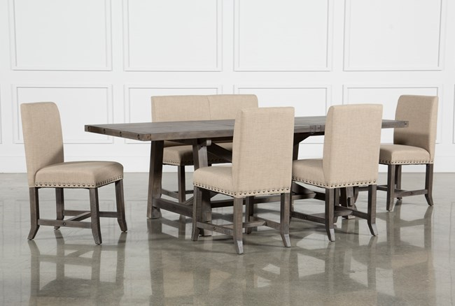 Jaxon Grey 6 Piece Rectangle Extension Dining Set With Bench & Upholstered Chairs - 360