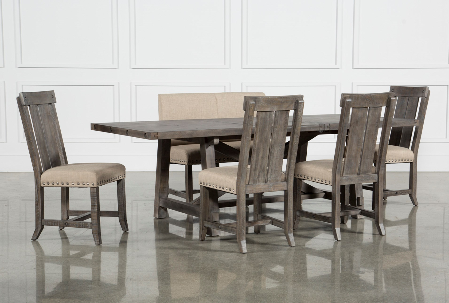 Jaxon Grey 6 Piece Rectangle Extension Dining Set W/Bench & Wood ...
