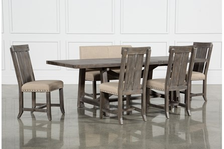 Jaxon Grey 6 Piece Rectangle Extension Dining Set W/Bench & Wood Chairs - Main