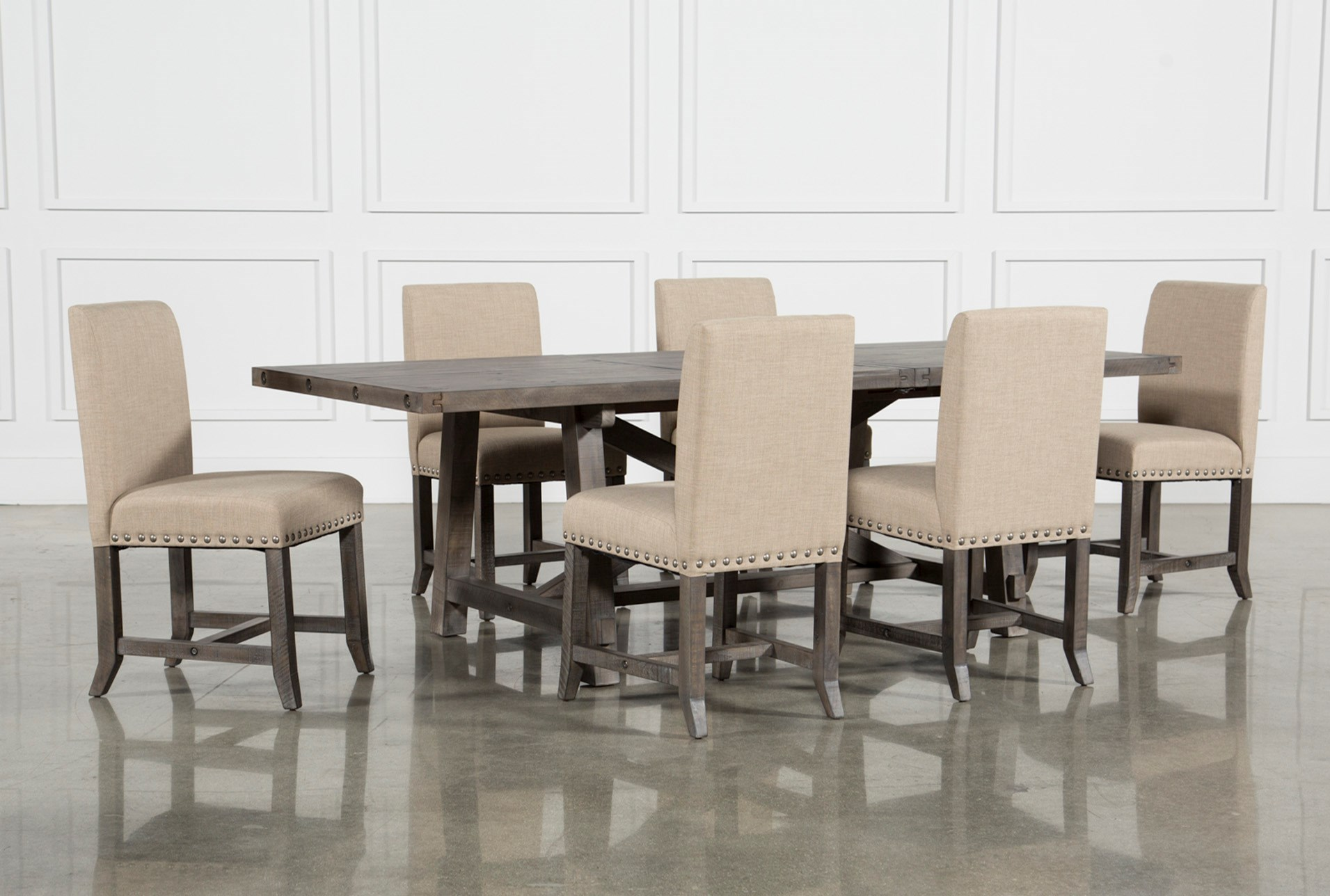 0131562ea Jaxon Grey 7 Piece Rectangle Extension Dining Set W Uph Chairs (Qty  1) has  been successfully added to your Cart.
