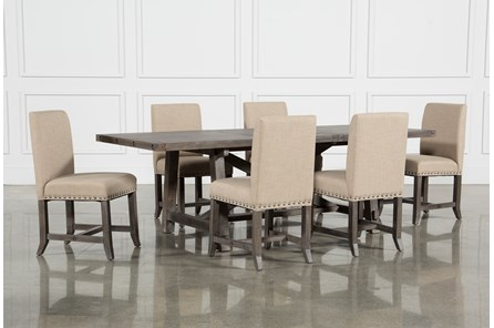Jaxon Grey 7 Piece Rectangle Extension Dining Set W/Uph Chairs - Main