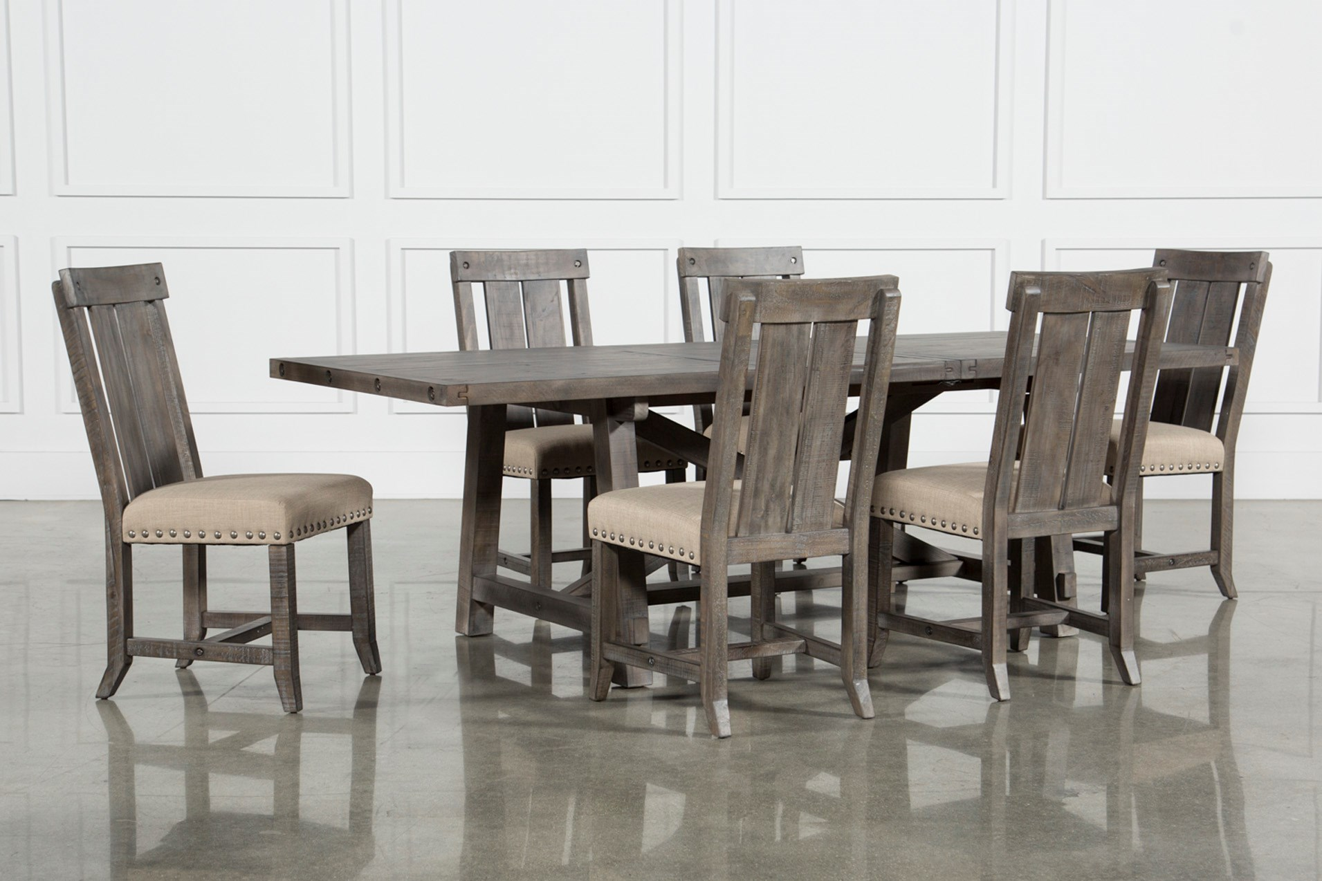 Jaxon Grey 7 Piece Rectangle Extension Dining Set W Wood Chairs