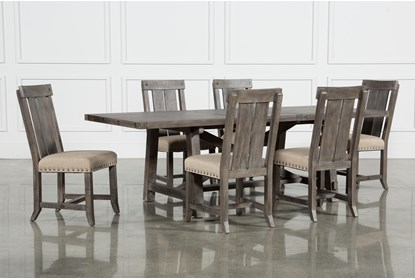Jaxon Grey 7 Piece Rectangle Extension Dining Set With Wood Chairs Living Spaces