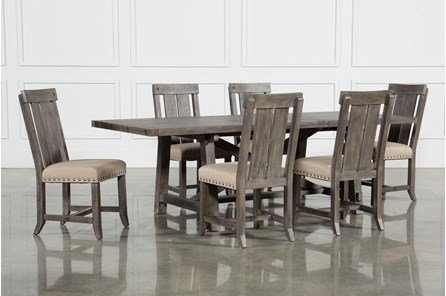 Jaxon Grey 7 Piece Rectangle Extension Dining Set W/Wood Chairs - Main