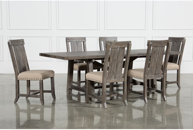 Jaxon Grey 7 Piece Rectangle Extension Dining Set With Wood Chairs - 360