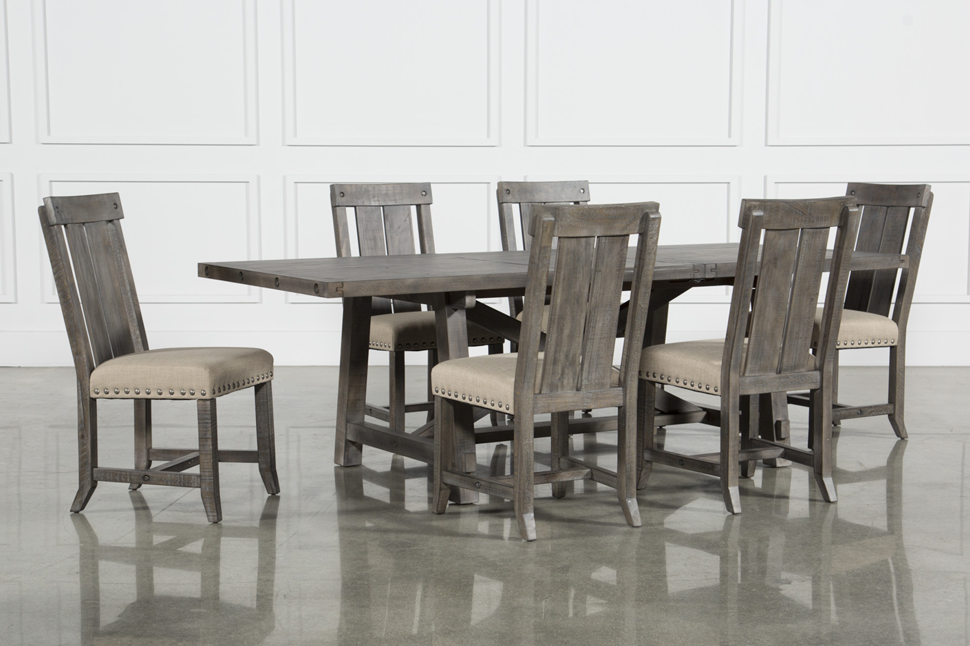 Jaxon Grey 7 Piece Rectangle Extension Dining Set W/Wood Chairs (Qty: 1)  Has Been Successfully Added To Your Cart.