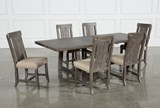 Jaxon Grey 7 Piece Rectangle Extension Dining Set W/Wood Chairs - Top
