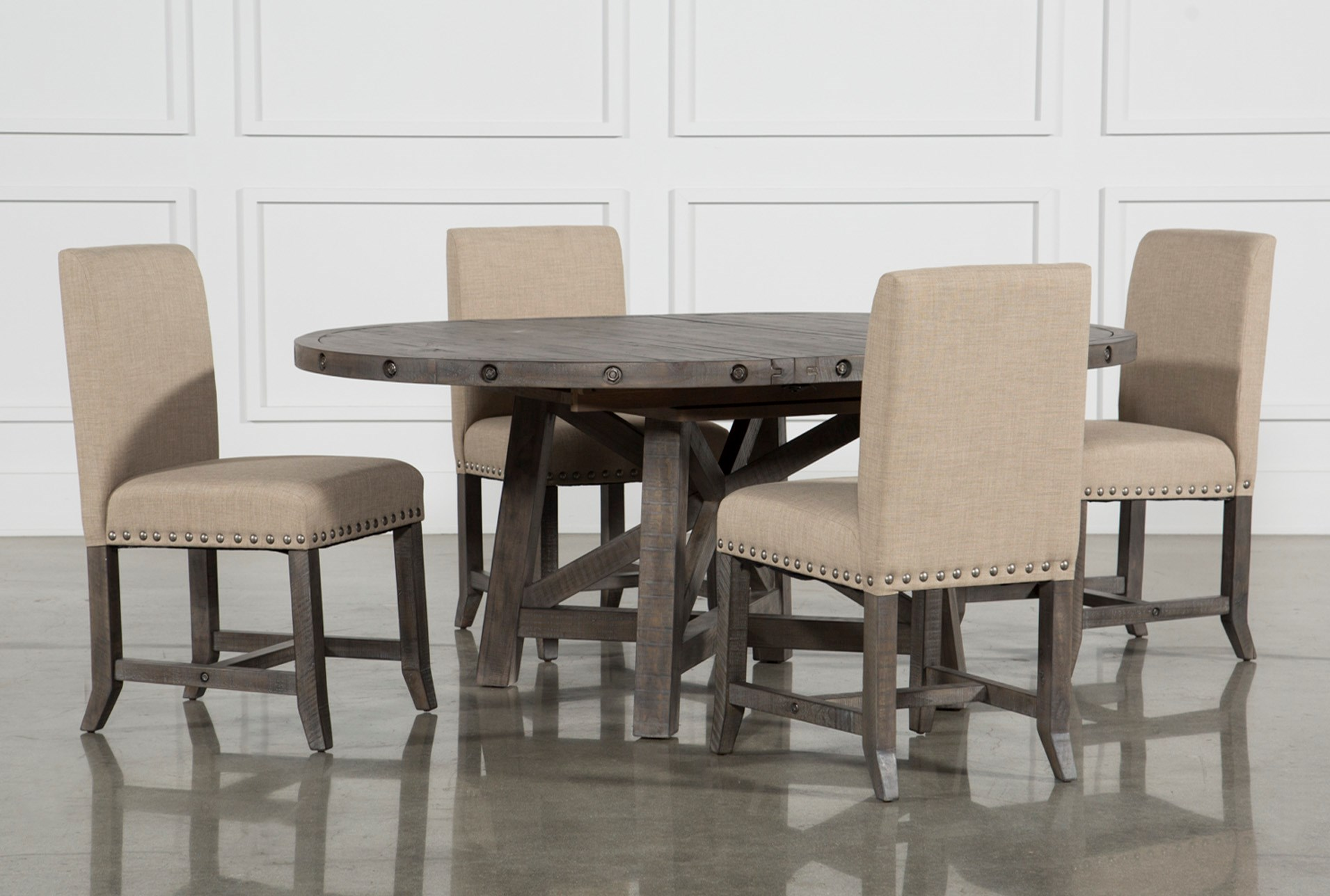 Jaxon grey 5 piece round extension dining set w upholstered chairs qty 1 has been successfully added to your cart
