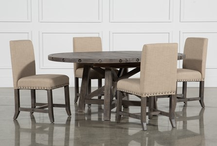 Jaxon Grey 5 Piece Round Extension Dining Set W Upholstered Chairs Living Spaces