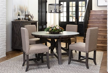 Jaxon Grey 5 Piece Round Extension Dining Set W Upholstered Chairs