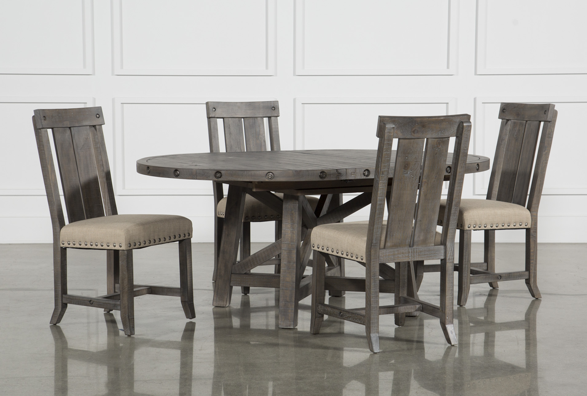 Jaxon Grey 5 Piece Round Extension Dining Set W/Wood Chairs & Dining Room Sets | Living Spaces