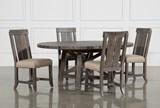 Jaxon Grey 5 Piece Round Extension Dining Set W/Wood Chairs - Signature