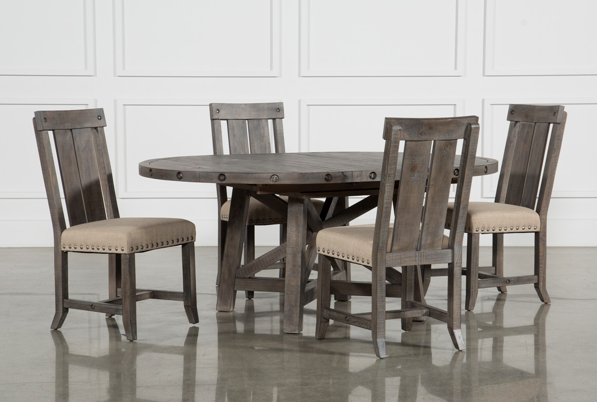 Grey Dining Room Table Sets: Jaxon Grey 5 Piece Round Extension Dining Set W/Wood