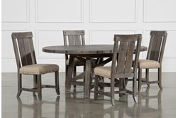 Jaxon Grey 5 Piece Round Extension Dining Set W/Wood Chairs