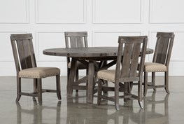KIT-JAXON GREY 5 PIECE ROUND EXTENSION DINING SET W/WOOD CHAIRS