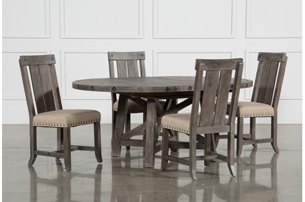 Jaxon Grey 5 Piece Round Extension Dining Set W Wood Chairs