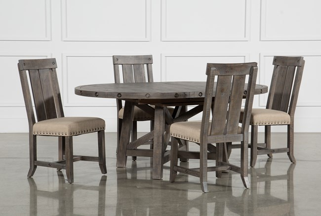 Jaxon Grey 5 Piece Round Extension Dining Set With Wood Chairs - 360