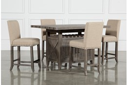 Jaxon Grey 5 Piece Extension Counter Set W/Fabric Stools
