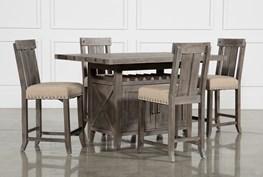 Jaxon Grey 5 Piece Extension Counter Set W/Wood Stools