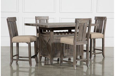 Jaxon Grey 5 Piece Extension Counter Set W/Wood Stools - Main